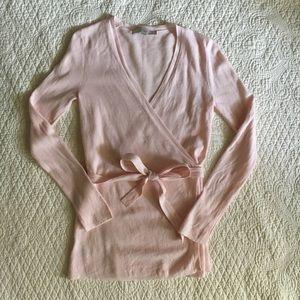 Loft Pale Pink Kimono Style Wrap Tie Cardigan